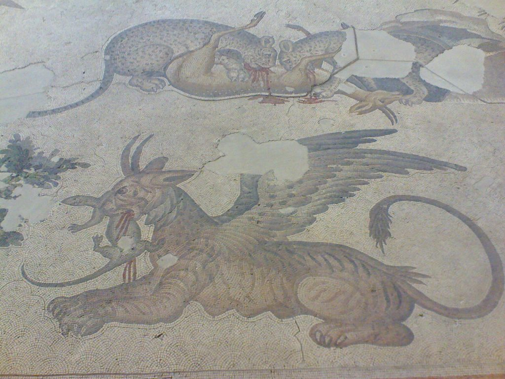 Byzantine mosaic of leopards and a griffin with their prey
